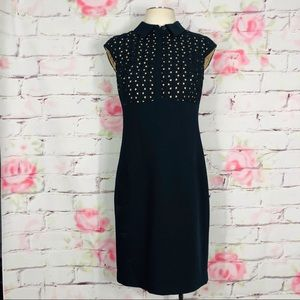 Ann Taylor sheath dress w crocheted top and collar